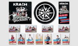 """Ausschnitt aus den Arbeiten für """"KRACH - 15 Jahre Grundlos Glücklich"""" (Pappschuber für die CD, CD, Flyer und Visitenkarten)"""